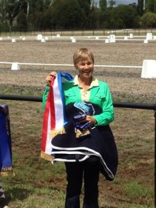 Jane Bruce with CP Dresden's prizes after winning Medium Champion.